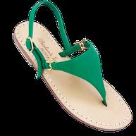 sandali artigianali di Mariarosaria ferrara modello sofia Loren colore verde in pelle.