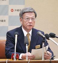 大型MICEの機能や規模について、翁長知事が記者会見を開いた=20日午後、県庁