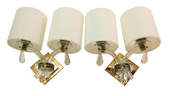 Early 1950's Pair Wall Sconces Maison JANSEN Mid Century Mirror Glass Modernist