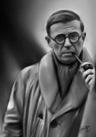 Jean Paul Sartre luciendo abrigo de paño y pañuelo.