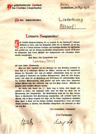"""1925: """"Mit treudeutschem Sängergruß!"""" Die Sprache lässt späteres Unheil ahnen."""
