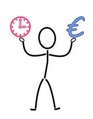 Zeichnung eines Menschen mit Uhr in einer Hand, Euro in der anderen