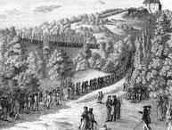 Zug der Studenten auf die Wartburg 1817.