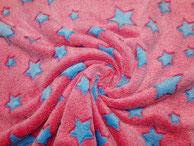 Plüsch pink mit türkisblauen Sternen