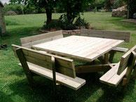 Table de jardin en bois 12 places - réalisation FMA menuiserie Lezay