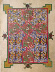Page-tapis avec croix, Livre de Lindisfarne, enluminure celte
