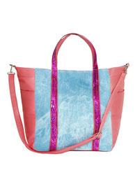 Jeans-Shopper mit Pailletten pink günstig