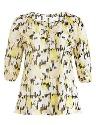 Bluse mit modernem Grafikmuster gelb großen Größen