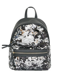 Rucksack schwarz mit silber Pailletten bestickt günstig