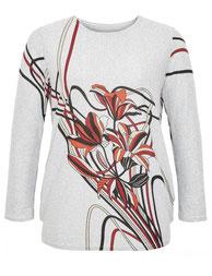 weicher Damen-Pullover mit Blumenmuster grau  in Übergrößen