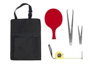 Kit d'arbitrage pour jeu de boules de boccia à acheter pas cher. Kit arbitrage de boules de boccia avec calliper, mètre et plaquette d'arbitre rouge.