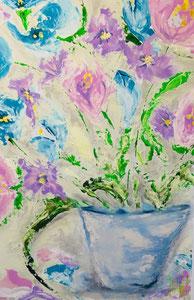 Vase Blumen, Acryl auf Leinwand, JULIA! Neulinger-Kahl