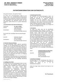 Patienteniformation zum Datenschutz - Praxis Dr Faerber 2018