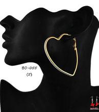 Boucles d'oreilles anneaux coeurs dorés