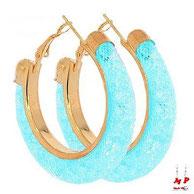 Boucles d'orelles créoles Stardust dorées et bleues