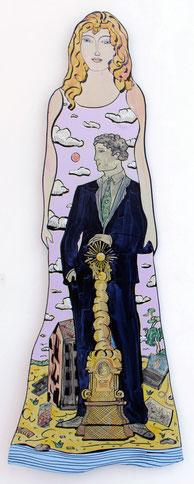 """Moritz Götze, """"Madchen in Linz"""". 2016, Emaillienmalerei, 120 x 40 cm"""