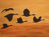 Sechs Graugänse im Flug im Abendrot. Acrylbild von Claudia Pichler Salzburg