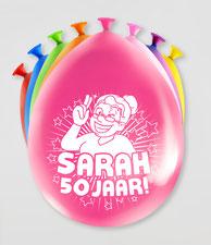 Ballonnen  Sarah  50 jaar! 8 stuks € 2,25