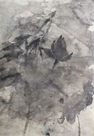荷花66 LOTUS 66 60X36CM 纸本水墨与植物色 INK & MINERAL COLOR ON PAPER 2005 (收藏于上海 COLLECTED IN SHANGHAI)