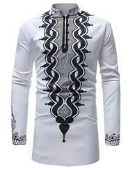 T-Shirt Chemise À Manches Longues Hommes Africain 4567