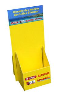 Flyerboxen bedrucken, Dispenserbox mit Druck. Kaschierte Pappe