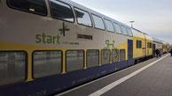 Fahrradwagen Typ DBdpza der Regionalverkehre Start Deutschland (ex Metronom),  RE5 -> Hamburg Hauptbahnhof -> Cuxhaven, de:Bahnhof CuxhavenBahnhof Cuxhaven,