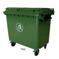 7324. Contenedor con ruedas y Tapa. Polietileno de Alta Densidad 4.3 mm de espesor. Color: Verde Medidas:  126 X 76 X 123 cm. Capacidad: 660 litros