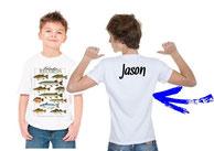tee-shirt personnalisé garçon pêcheur de poisson de lac