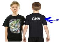 tee-shirt personnalisé garçon pêcheur de gros brochet