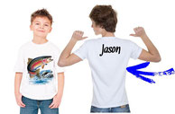 tee-shirt personnalisé garçon pêcheur de truite