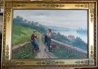 Kurt Hermann, Öl auf Leinwand, bäuerliche Szene am Fluss, Goldrahmen, € 950,00