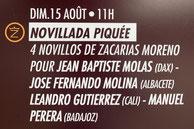 Novillos de Zacarias Moreno pour Jean Baptiste Molas, José Fernando Molina, Leandro Gutierrez, Manuel Perera