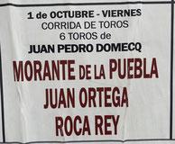 Toros de Juan Pedro Domecq pour Morante de la Puebla, Juan Ortega et Roca Rey