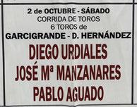 Toros de Garcigrande pour Diego Urdiales, José Maria Manzanares, Angel Jimenez