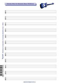 TB04 - Viersaiter-TAB-Block für Bassisten