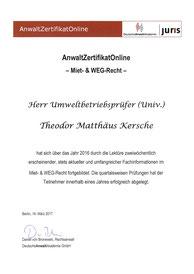 Zertifikat: Miet- & Wohnungseigentumsrecht von DeutscheAnwaltAkademie