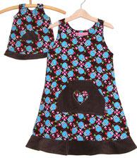 Lumpenprinzessin Genähtes Kleid und Puppenkleid aus Eulencord, Eulenreigen Hamburger Liebe Farbenmix - ein Traum für kleine Puppenmamas  Handarbeit Nähen