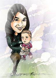 Caricatura personalizada formato digital adulto + bebé por 25€ color
