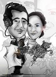 Caricatura pareja b/n por 30€