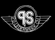Logo von ps-lederwerk, schwarzer Kreis mit angedeuteten Flügel und schriftzug in weiss