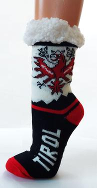 Kuschelige Socken mit Fleece, Tirol + Adler, schwarz