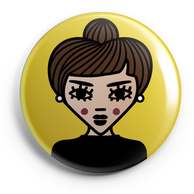 ICONS ICONES AUDREY HEPBURN ILLUSTRATION BADGE MAGNET MIROIR / CREATION ORIGINALE © Stephanie Gerlier / T FOR TIGER