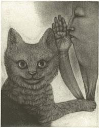 「猫が見た夢」 160x120mm 銅版画(メゾチント)