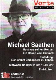 """galerie time Lesung: Michael Saathen liest aus seinem Roman """"Ein Hauch vom Himmel"""" Mittwoch, 12.10.2011"""