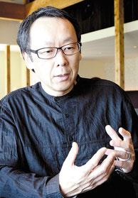 「竹富島の文化リゾートになりたい」と語った星野代表=1日午後、星のや竹富島