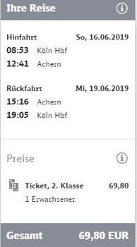 Vorgeschlagene Rückfahrt mit Sparpreis (Stand: 12.02.2019)