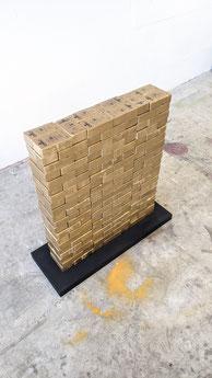 """Étalon"" : Building bricks, plaster, aerosol, screenprinting - 100x120x20 cm - 2021"