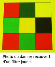 Photo d'un damier multicolore recouvert d'un filtre jaune.
