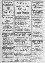 Göttinger Zeitung, 17.01.1919 mit Wahlwerbung. StA Göttingen