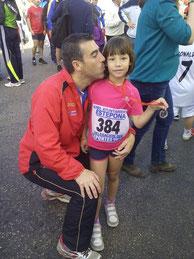 Dani Zamorano, junto a su pequeña Paula.